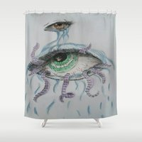pain Shower Curtains featuring pain by Alyxka Pro