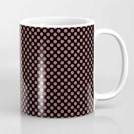 Black and Dusty Cedar Polka Dots Coffee Mug