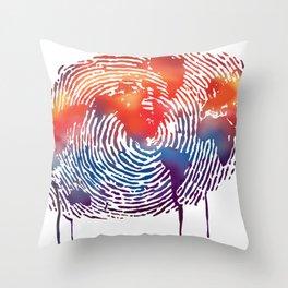 global map finger print Throw Pillow