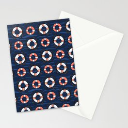 Cute lifering grid with rope cartoon seamless pattern Stationery Cards