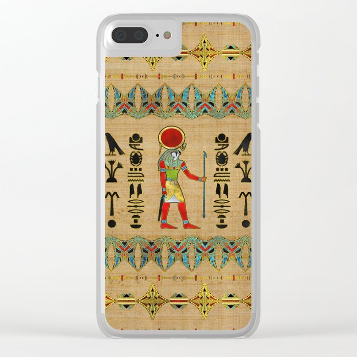 Egyptian Re-Horakhty  - Ra-Horakht  Ornament on papyrus Clear iPhone Case