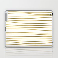 Small uneven gold glitter stripes on clear white - horizontal pattern on #Society6 Laptop & iPad Skin