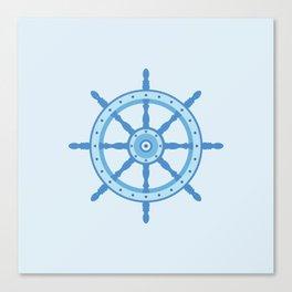 AFE Ship Wheel Light Blue, Nautical Art Print Canvas Print