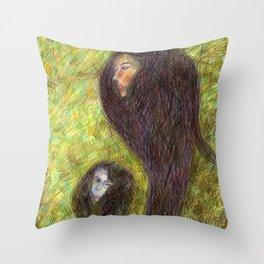 Poissons de Crayons Throw Pillow
