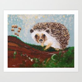 Hedgehog and Mushrooms Art Print
