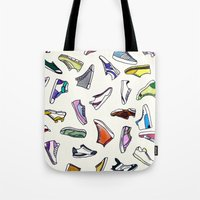sneakers Tote Bags featuring sneakers addiction by Federico Faggion