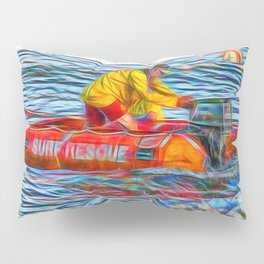 Abstract Surf rescue boat in action Pillow Sham