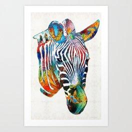 Colorful Zebra Face by Sharon Cummings Art Print