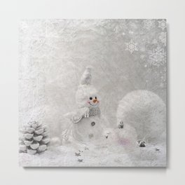Cute snowman winter season Metal Print
