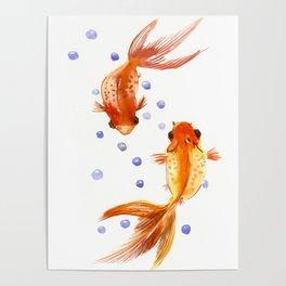 Goldfish, two fish, Koi Asian Style watercolor art, feng shui Poster