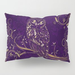 Golden Owl Crescent Moon Pillow Sham