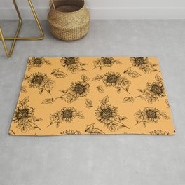 Vintage Sunflower Pattern  Rug