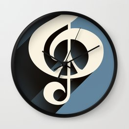 Steal Blue Retro Music & Peace Wall Clock