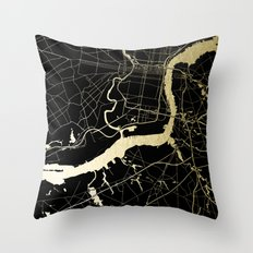 Philadelphia - Black and Gold Throw Pillow