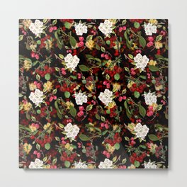 Cherries with Blossoms Metal Print