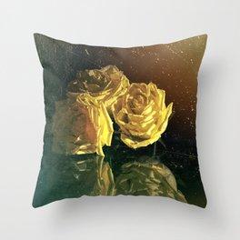 Yellow Vintage Roses Throw Pillow