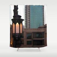 arab Shower Curtains featuring Dubai - Lamp outside Burj Al Arab by gdesai