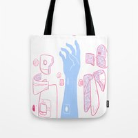 android Tote Bags featuring Android Arm by mike bautista