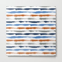 Orange & Blue brush stripes Metal Print