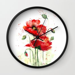 Watercolor flowers of aquarelle poppies Wall Clock