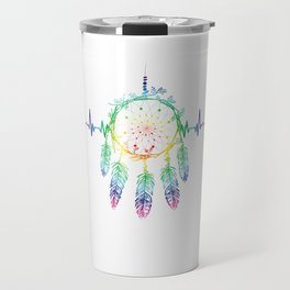 Native American Culture Willow Hoop Feathers Beads Charms Dreamcatchers Heartbeat Gift Travel Mug