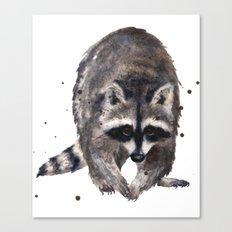 RACOON painting, wilderness nursery art, woodland animal art, racoon watercolor, cute racoon print Canvas Print