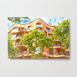 Casa Mila Gaudi Barcelona Metal Print