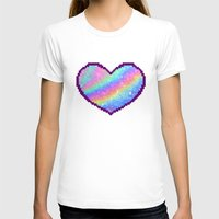 holographic T-shirts featuring Holographic Heart by Sombras Blancas Art & Design