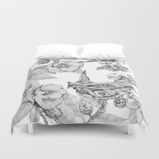 Moths & Camellias Duvet Cover