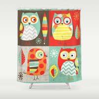 mod Shower Curtains featuring Mod Owls by Jeannine Feierbach Designs