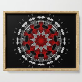 Bright Red Silver Star Flower Mandala Serving Tray
