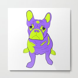 Frankie the French Bulldog - Purple Metal Print