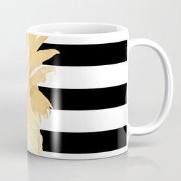 Gold Pineapple Black and White Stripes Coffee Mug