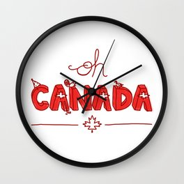 Oh Canada Day (Handlettered) Wall Clock