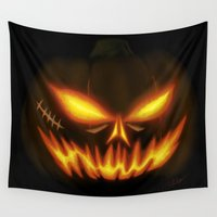 pumpkin Wall Tapestries featuring Halloween Pumpkin by C-Vill