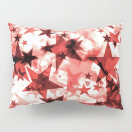 Metallic red glowing dark golden stars on a light background in the projection. Pillow Sham