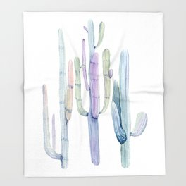Minimalist Cactus Drawing Watercolor Painting Turquoise Cacti Throw Blanket