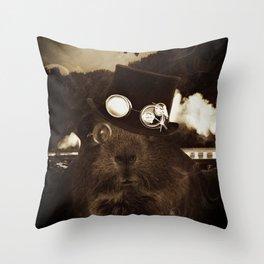 Steampunk Guinea Pig Throw Pillow