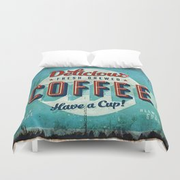 Vintage Style Coffee Sign Duvet Cover