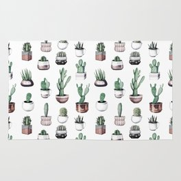Cactus + Succulents Rose Gold Pattern by Nature Magick Rug