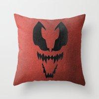 venom Throw Pillows featuring Venom by Beastie Toyz
