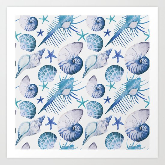 Sea Life Pattern 07 Art Print