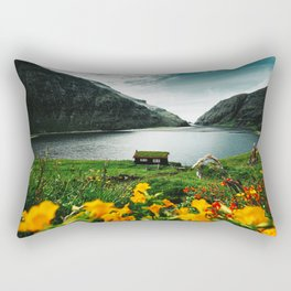 cottage in saksun faroe islands Rectangular Pillow