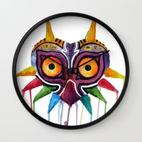 majoras mask Wall Clocks featuring majoras mask by Haily Melendez