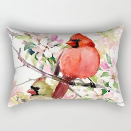 Cardinal Birds and Spring, cardinal bird design Rectangular Pillow