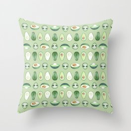 Avocados and aliens pattern Throw Pillow
