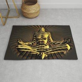 2329-JPC Abstract Striped Nude Powerful Woman Creator Goddess Radiating Golden Feminine Rug