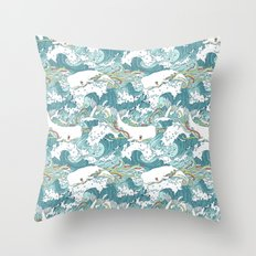 Whales and waves pattern Throw Pillow