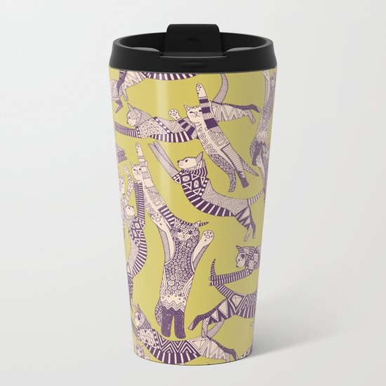 cat party mustard purple Metal Travel Mug