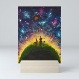 The little Prince original Painting illustration on canvas by Valery Rybakow Mini Art Print